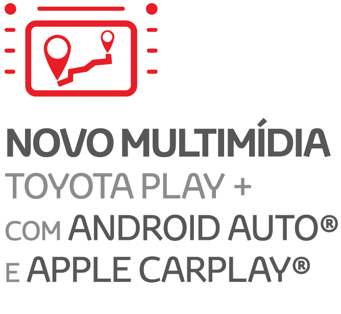 NOVO MULTIMÍDIA TOYOTA PLAY + COM ANDROID AUTO® E APPLE CARPLAY®